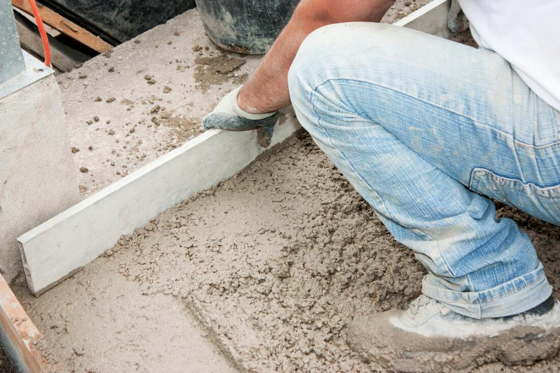 professional concrete contractor during work